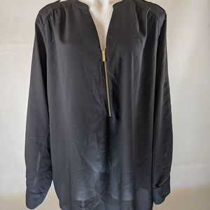 Calvin Klein Black Long Sleeved Gold Zip Front